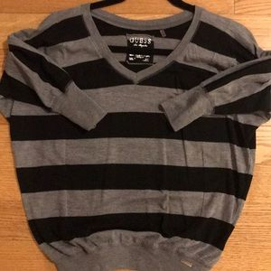 Guess black and gray striped top